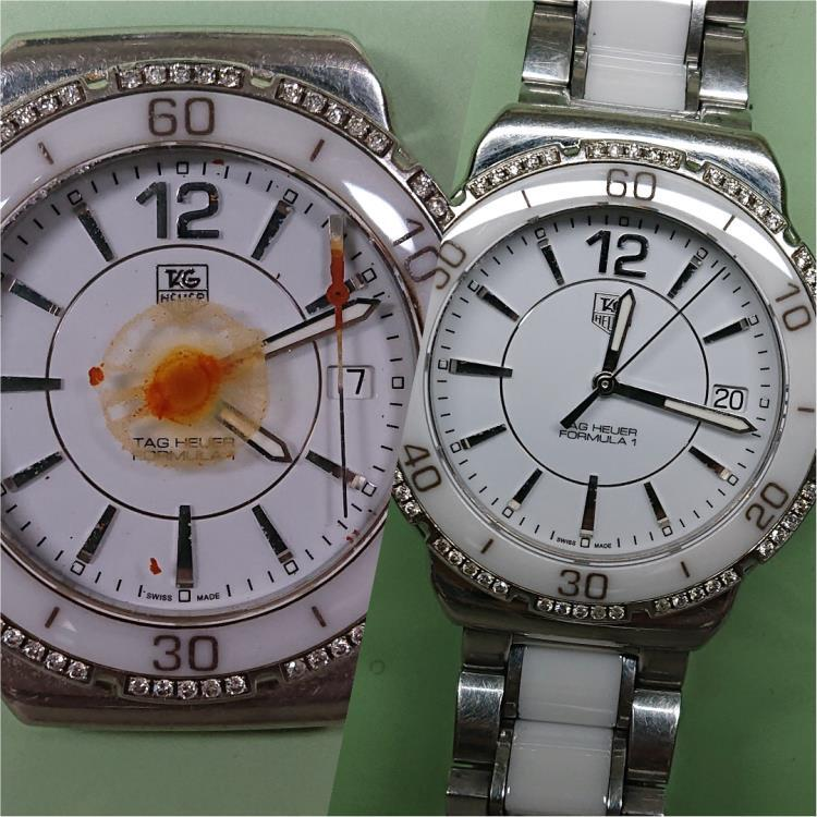 A before and after image of the watch.